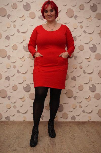 r 48/50  Sukienka  dzianina kolor czerwony    . - HeWoj - Sukienki dresowe