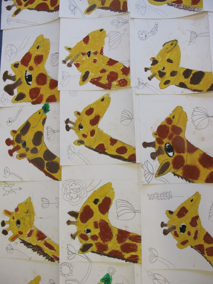 Giraffes from our #artclass held in #Highgate Wood School which is open to #children from any school! www.FineArt4Kids.com