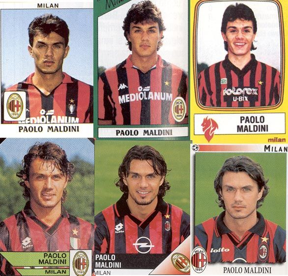 Paolo Maldini through the years. As you can see, a one-club man (AC Milan).