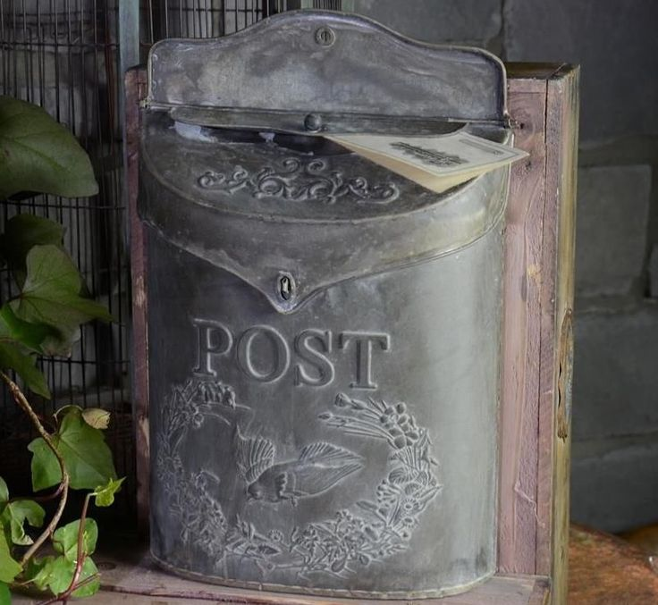 Metal Wall Mounted Post Mailbox Vintage Style Stamped