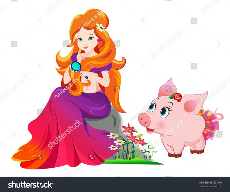 beautiful princess with cute little piglet
