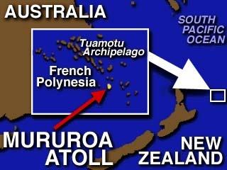 The location of Mururoa Atoll