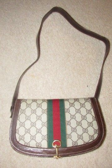 c852f5cea Gucci True 1960 s Mod Equestrian Accents Multiple Pockets Red Green  Canvas Leather Shoulder Bag