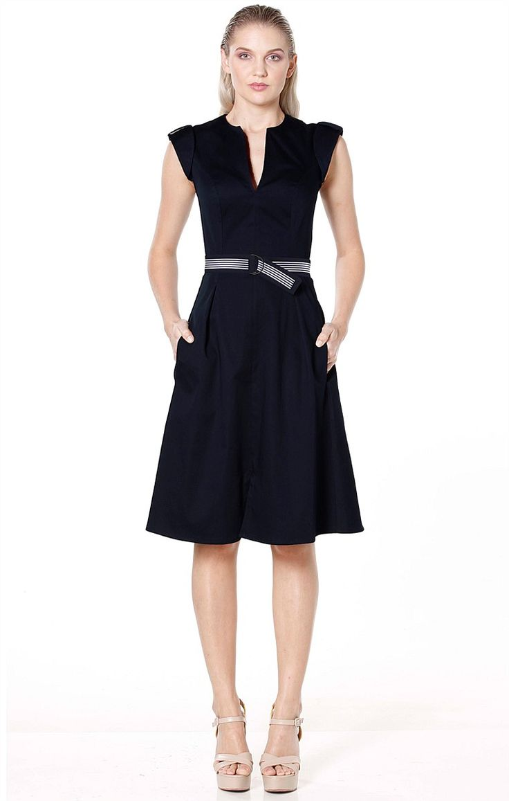 Shop All Solutions - FIT AND FLARE BELTED KNEE LENGTH A-LINE DRESS IN NAVY