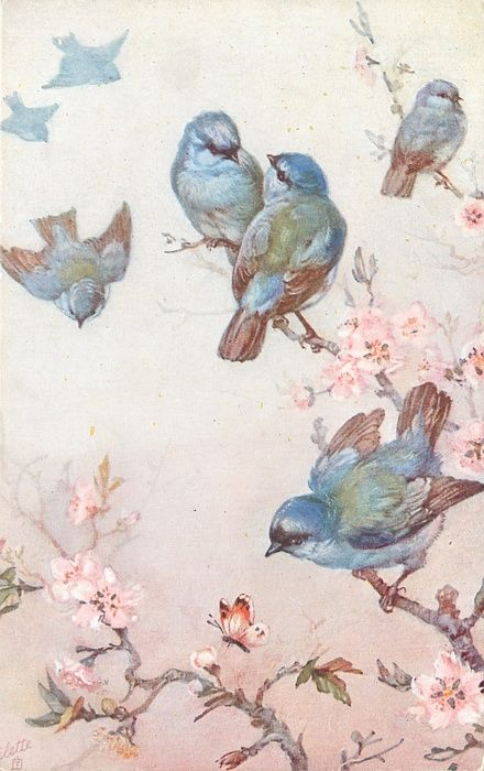 seven blue birds, four on blossom tree, three flying, butterfly below