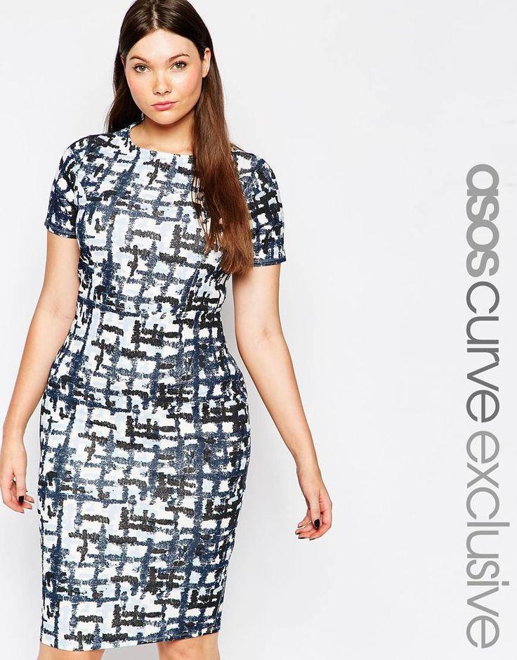 ASOS CURVE Bodycon Midi Dress in Abstract Check Print