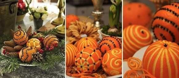 oranges sculptées pour décoration table de noel