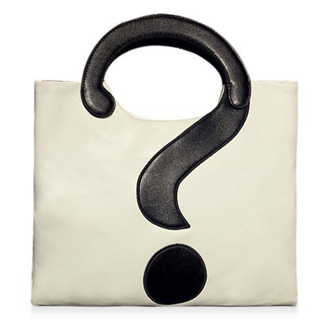 Stylish Question Mark and Color Block Design Women's Tote BagTote