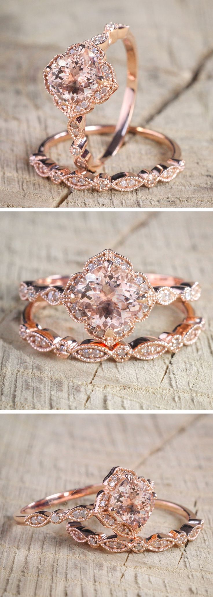 Morganite Diamond Halo Engagement Ring || Modern Vintage Engagement Ring || Budget Friendly Engagement Ring