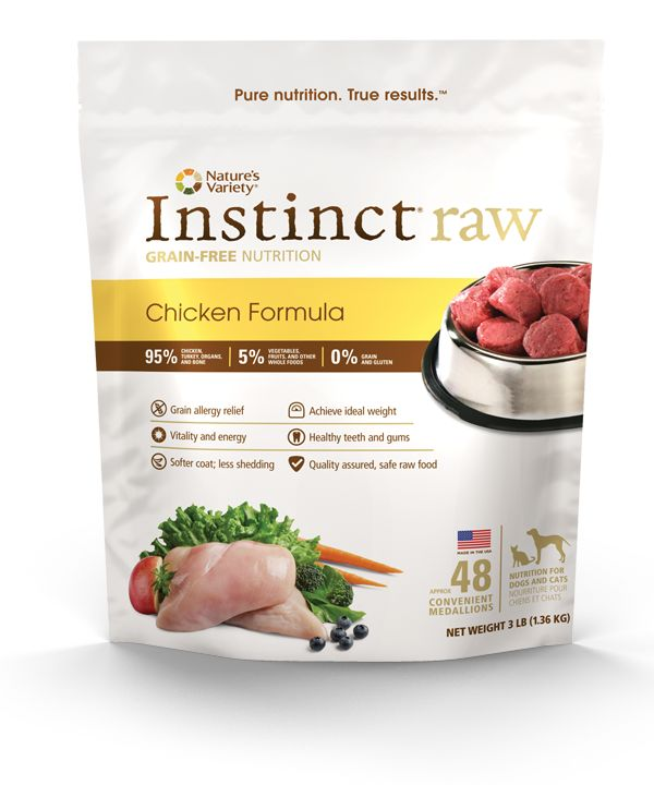 Instinct Raw Chicken Foods for dogs and cats are all natural, grain-free, gluten-free (no fillers). Known to provide relief for pets with allergies.