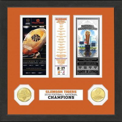 "$49.99 - Clemson University 2016 National Champions Ticket/Schedule Minted Frame - Celebrate the Clemson University football team winning the National Championship with this Ticket and Schedule Frame. Featured in a 12"" x 12"" wood frame with double matting."