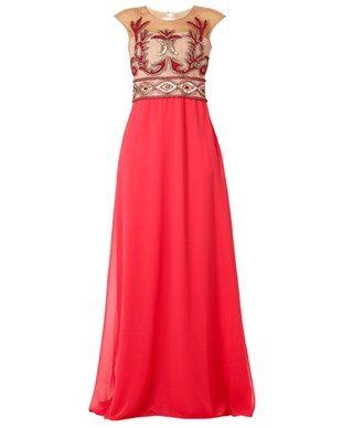 Vestido longo tule bordado arabesco
