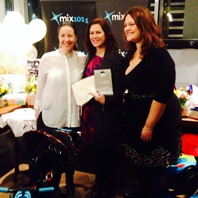 Purebaby Founder and Creative Director Mirabai Winford with Mix 101's Chrissy and Jane