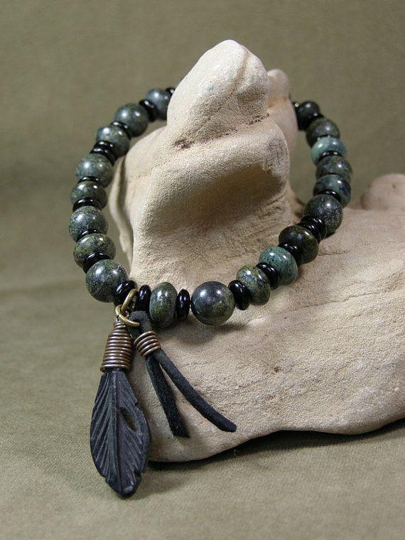 Mens Bracelet Beaded Bracelet Green Bracelet by StoneWearDesigns