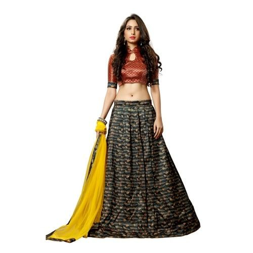 Black Colored Pure Bhagalpuri Silk Digital Print Lehenga Choli