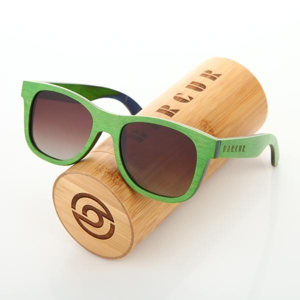 BARCUR 2017 Summer Style Handmade Green Vintage Skateboard Wood Sunglasses Polarized Men Femme Wooden Lunette de soleil homme