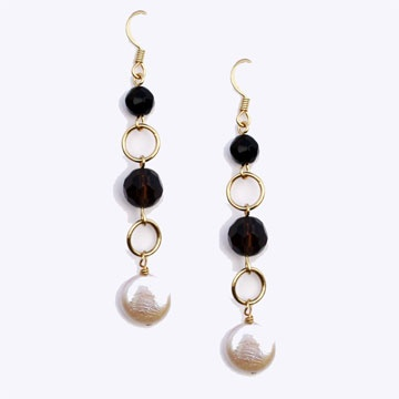 Pembroke Earrings, a delicate and airy assembly of freshwater coin pearls, faceted Smoky Quartz and Black Onyx on a gold plated fish hook earwire.