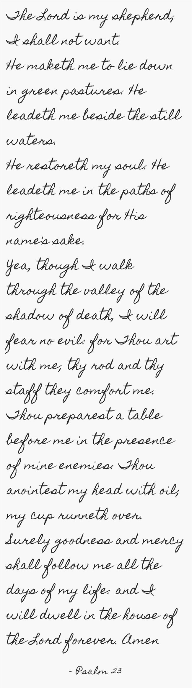 The Lord is my shepherd; I shall not want. He maketh me to lie down in green pastures: He leadeth me beside the still waters. He restoreth my soul: He leadeth me in the paths of righteousness for His name's sake. Yea, though I walk through the valley of the shadow of death, I will fear no evil: for Thou art with me; thy rod and thy staff they comfort me. Thou preparest a table before me in the presence of mine enemies: Thou anointest my head with oil; my cup runneth...