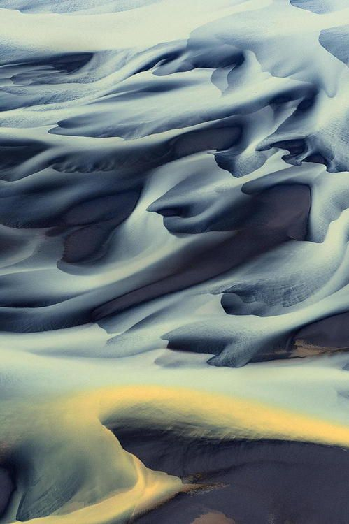 Aerial photo of glacial river ,Iceland
