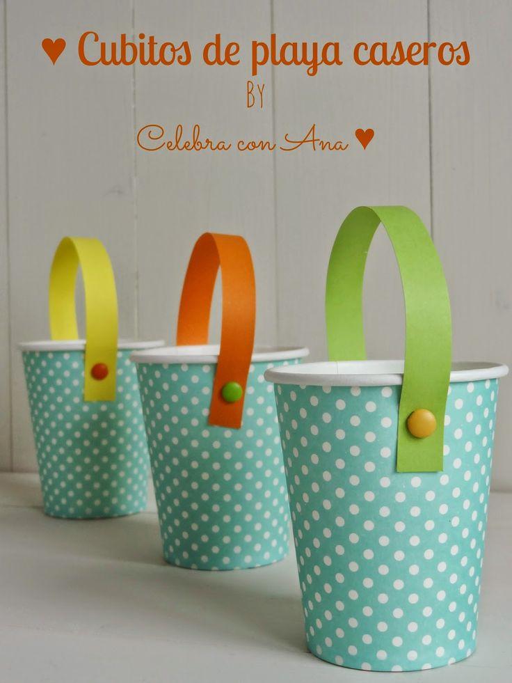 cubos de playa con vasos de papel fiesta niosde