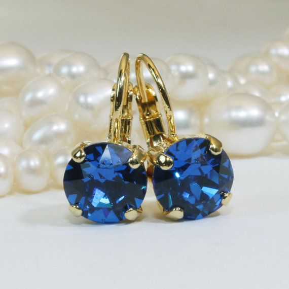 Royal Blue Earrings Gold Cobalt Blue Swarovski Crystal by TIMATIBO