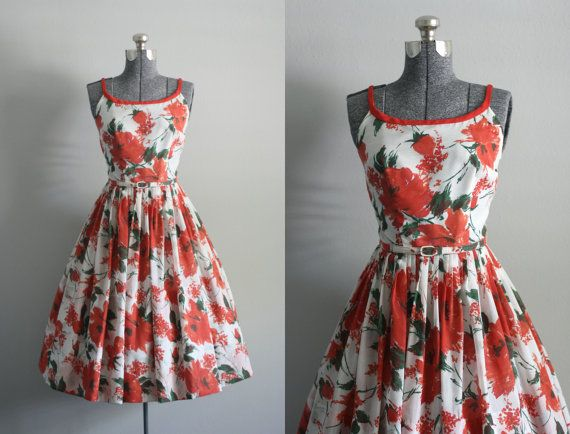 Vintage 50s Dress / 1950s Cotton Dress / by TuesdayRoseVintage, $168.00