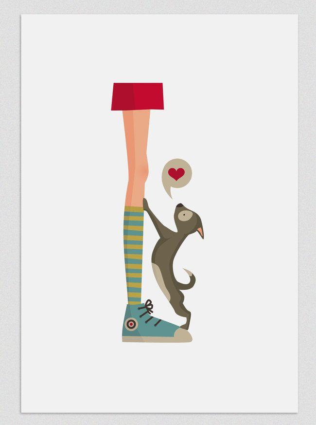 Illustration. Dogs Life (Girl). $20.00, via Etsy.