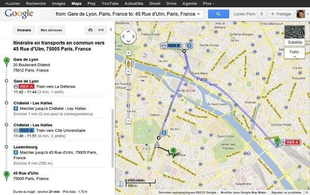 Google aiuta i viaggiatori a viaggiare con i mezzi pubblici nella capitale. Il gigante di Internet ha lanciato Google Transit a Parigi. Google Transit determina il percorso da seguire con la metropolitana o RER per arrivare a destinazione. Google Transit è possibile conoscere la frequenza dei treni e la durata del tragitto con i mezzi pubblici a Parigi intramuros su Google Maps.