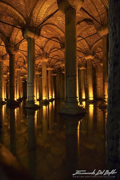 Istanbul - Turkey- Istanbul Underground -by Emanuele Del Bufalo- This is the Basilica Cistern, the largest of several hundred ancient cisterns that lie beneath the city of Istanbul. The cistern, located 150 m southwest of the Hagia Sophia on the historical peninsula of Sarayburnu, was built in the 6th century during the reign of Byzantine Emperor Justinian I.