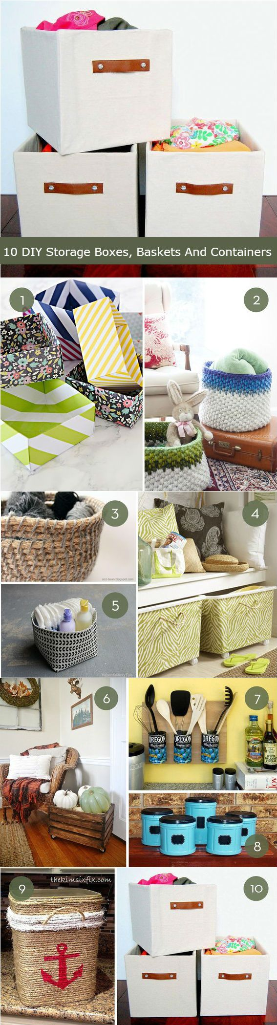 10 DIY Storage Boxes, Baskets And Containers