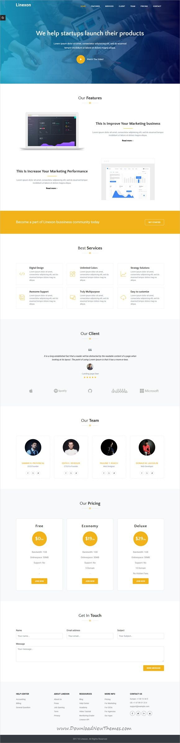Linexon is clean and modern design responsive #HTML5 template for multipurpose #app landing page website with 13 unique homepage layouts download now..