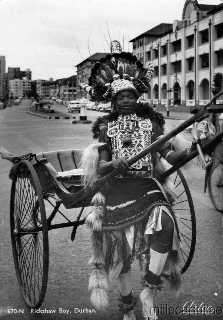 "Africa | ""Rickshaw Boy"". Durban, South Africa | Scanned old postcard."