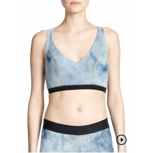 "➡️NWT Made Gold Taylor Denim Sports Bra⬅️ Athletic essential sports bra in stretchy, acid-wash denim. V-neck. Sleeveless. Front shaping seams. Elasticized hem. Racerback. Pullover style. About 13"" from shoulder to hem. Cotton/polyester/spandex. Machine wash. ✨Amazing matching leggings also available in my closet.✨ Made Gold Intimates & Sleepwear Bras"