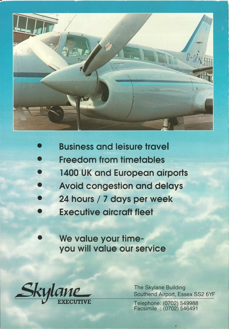 SKK Skylane Air Charter brochure page 4 1990 C404 GSKKC at EGMC