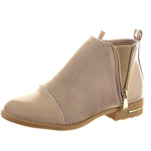 Oferta: 32€ Dto: -23%. Comprar Ofertas de Sopily - Zapatillas de Moda Botines Chelsea Boots A medio muslo mujer brillantes Cremallera Talón Tacón ancho 2.5 CM - Caqui barato. ¡Mira las ofertas!