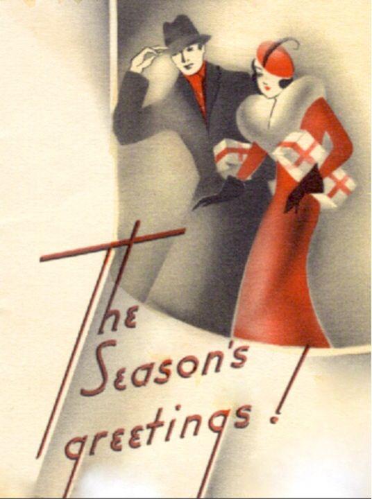 Art Deco Christmas couple card, ca. 1930s