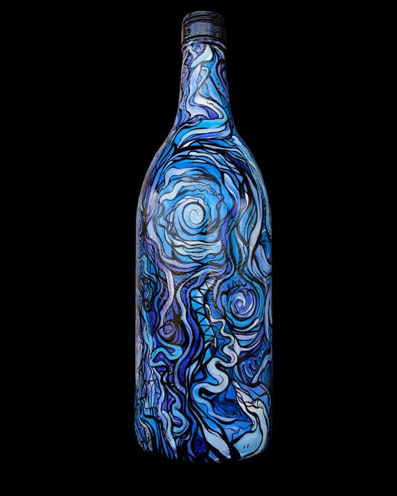 hand painted Glass wine bottle