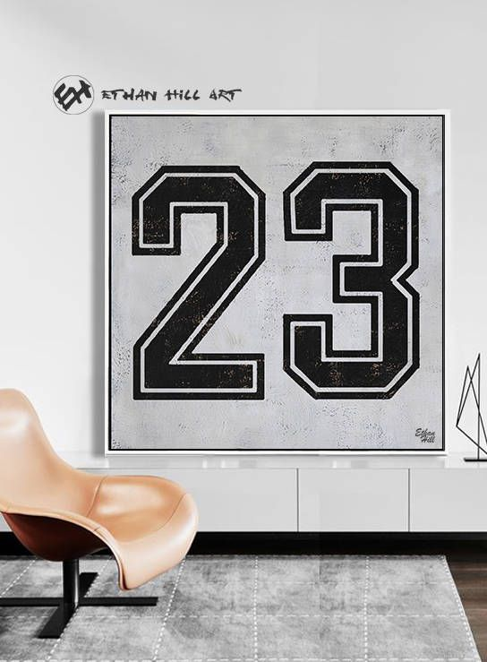 Black and White Favorate numbers, Lucky number 23 Painting Large Canvas Art, hand painted Large Wall Art. FREE shipping -Ethan Hill Art #Z23