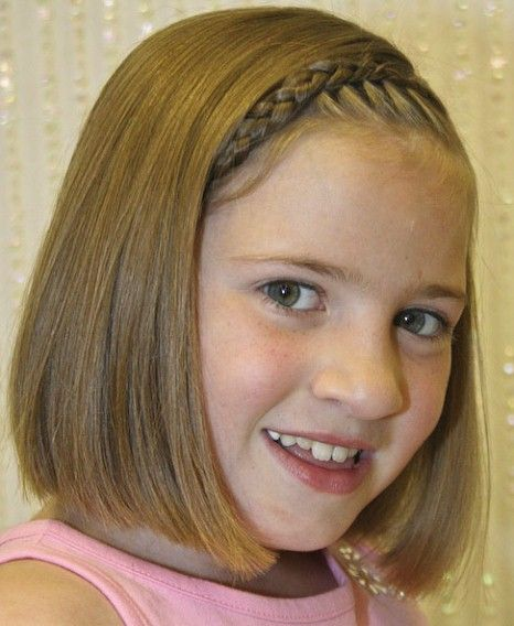 Straight Blunt Haircut with Braid-Short Hairstyles for Little Girls