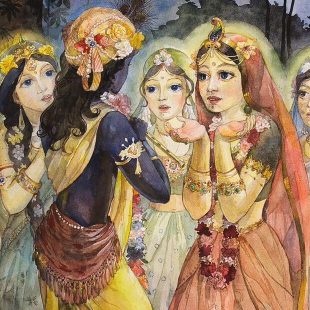Radha and Krishna with gopis in Vrindavana. (Painted by Pushpanjali devi dasi.)