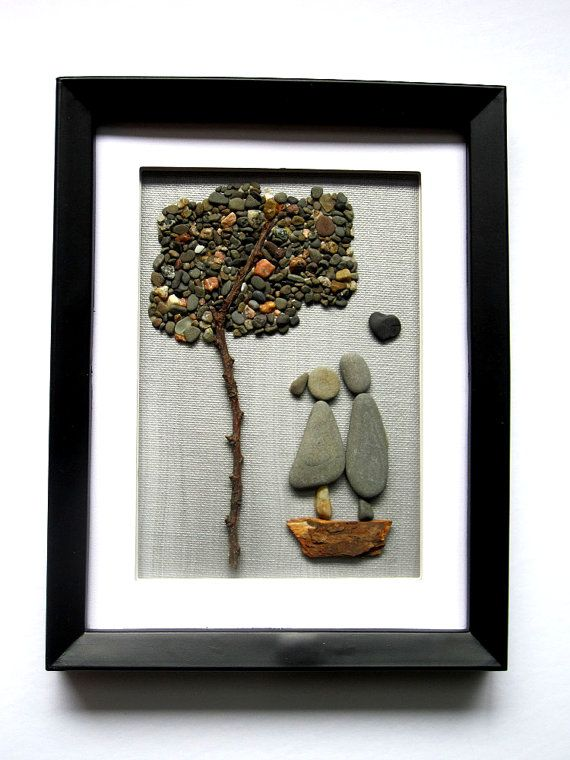 Tree of Love Unique Romance Pebble Art Picture by PebbleSimplicity