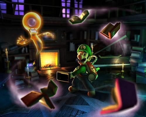 Ahh the old ghostly flying books tricky, good show poltergeist from the official artwork set for #LuigisMansion 2 Dark Moon on Nintendo #3DS. #Luigi http://www.superluigibros.com/luigis-mansion-2