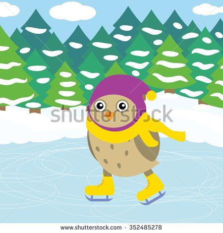 Vector illustration of skating owl - stock vector
