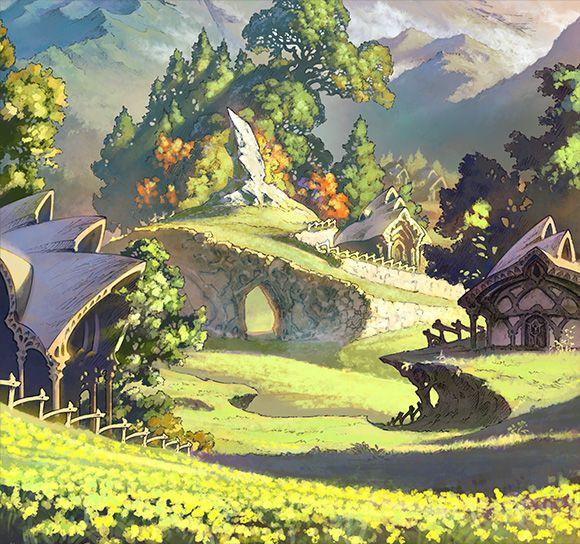 <span class='title'>閉ざされた村</span>主人公が育ったのどかな村。<br>緑に香るそよ風は、<br>若い冒険心を大空へと誘った。