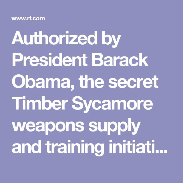 Authorized by President Barack Obama, the secret Timber Sycamore weapons supply and training initiative has served as the backbone of Washington's strategy to topple the Syrian President Bashar Assad.