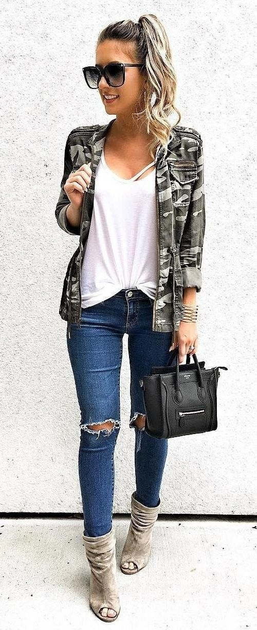 #fall #outfits women's black oversize sunglasses, white scoop-neck shirt, gray jacket, distressed blue skinny jeans, and gray peep-toe suede booties with black leather handbag outfit