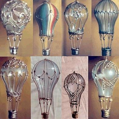 Re-purpose lightbulbs into hot-air-balloon ornaments. These are so pretty! ~ Epi