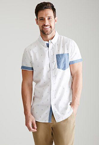Designer: 21 MEN Description: Solid Pocket Anchor Print Shirt Value: $19.90