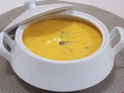 Sopa de Abóbora com Queijo e Bacon - Na Biroskinha