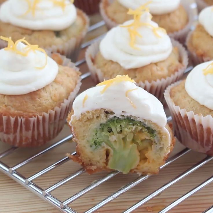 Surprise your guests with savoury cupcakes! Slice into a cupcake to reveal a broccoli floret inside!